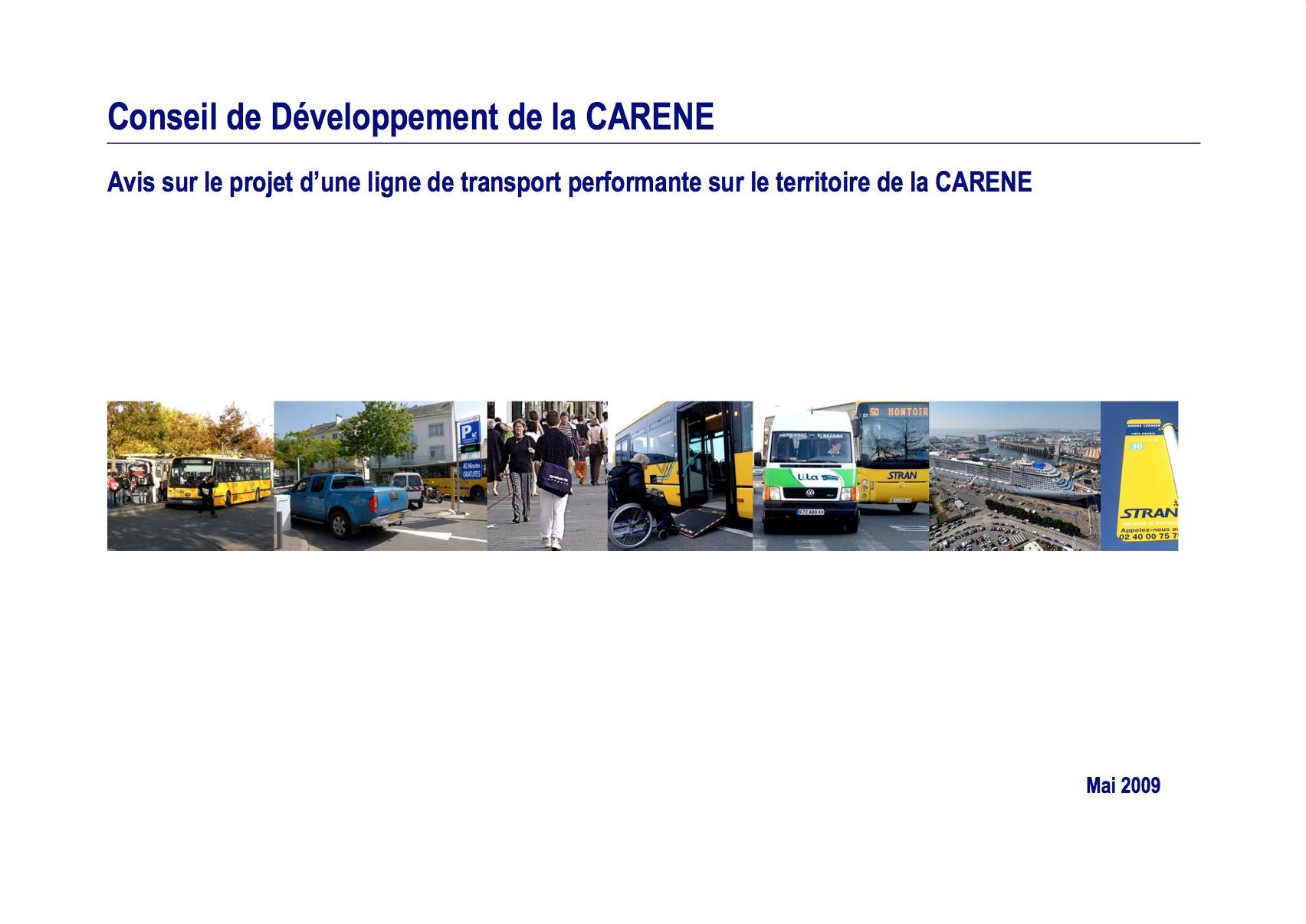 Avis sur le projet d'une ligne de transport performante sur le territoire de la CARENE