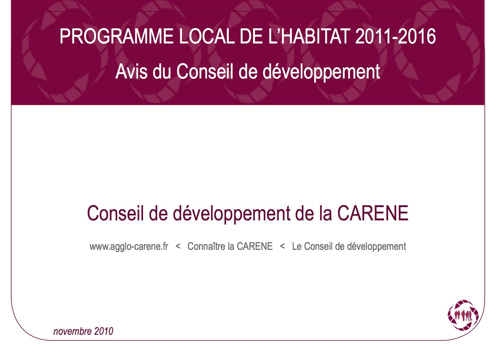 Programme local de l'Habitat 2011-2016